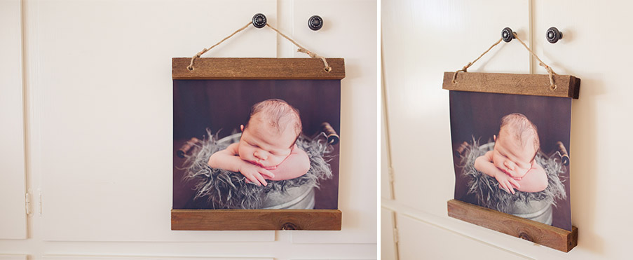 canvas of newborn baby posed in prop