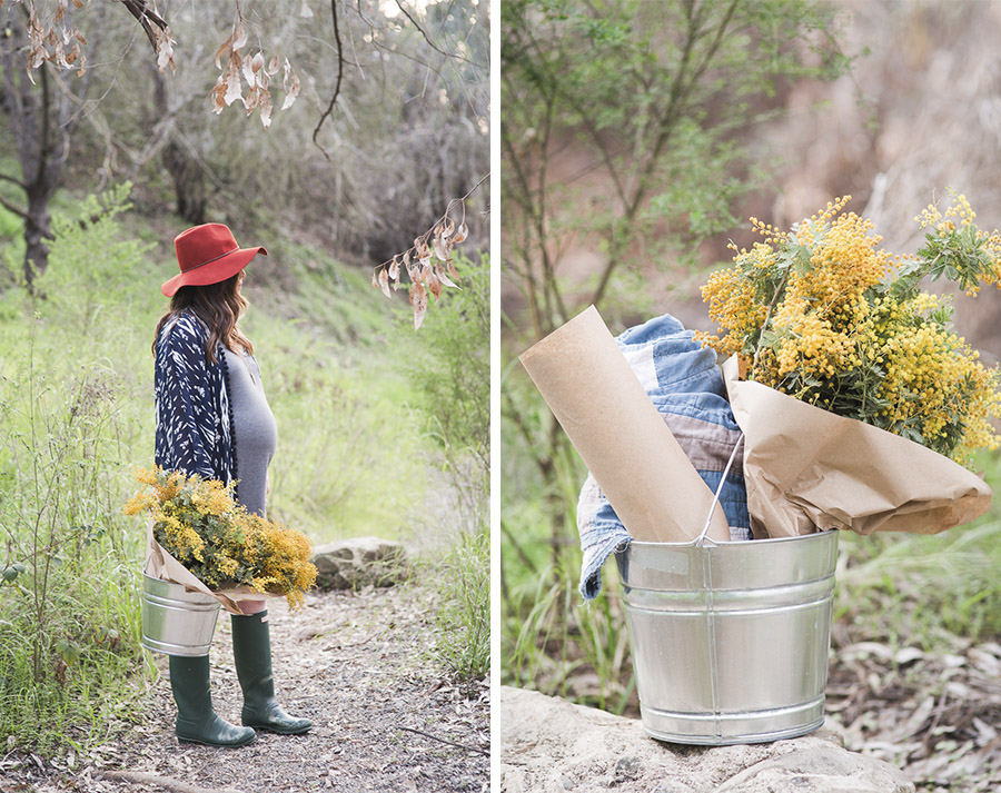 styled maternity session with flowers