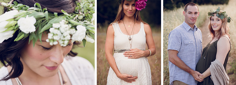 maternity photography with floral crown