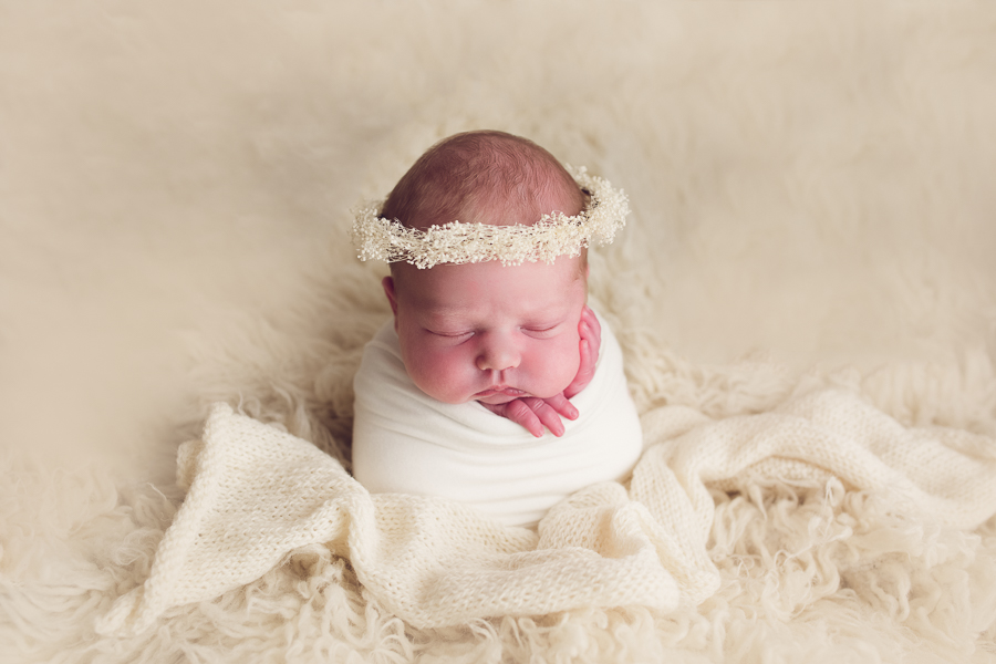 sf bay area newborn photography with baby girl in floral crown
