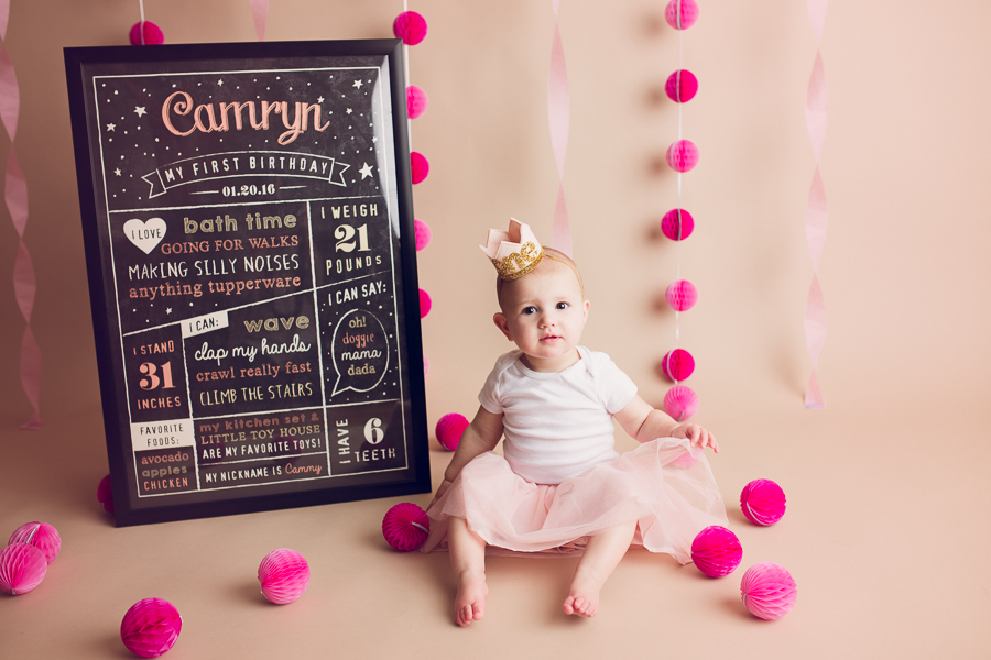 cake smash session bay area baby girl with birthday chalkboard sign