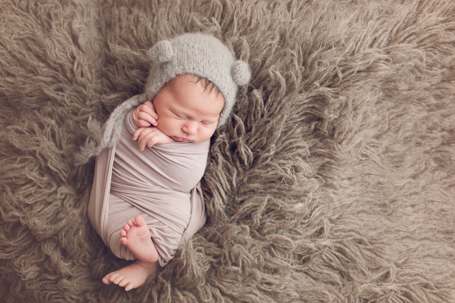 Newborn photography east bay baby girl wrapped up in gray