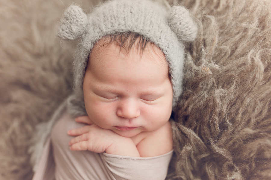 Newborn photography east bay baby girl with bear hat
