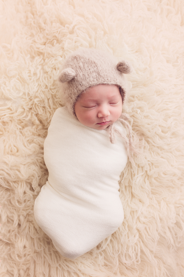 san ramon newborn photographer baby girl in cute bear hat