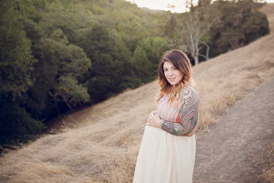 Maternity Photographer Bay Area Pregnant mom in beautiful dress in the hillside