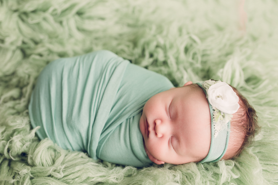 Newborn photography san jose adorable baby girl in mint