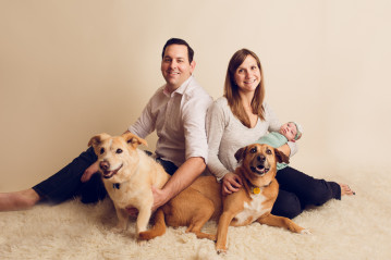 Infant Photographer Oakland newborn with whole family including dogs