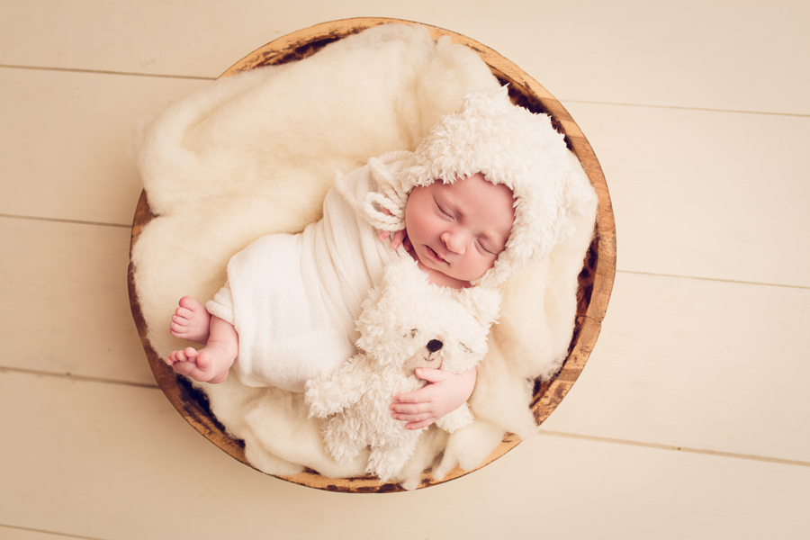 San Jose Baby Photographer newborn baby girl dressed like a bear