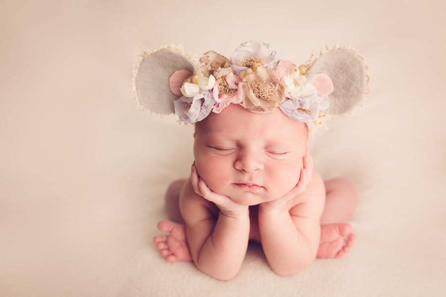 San Jose Baby Photographer newborn baby girl dressed like a mouse