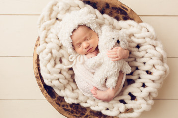 Newborn Photographer Concord CA baby wrapped up in bowl